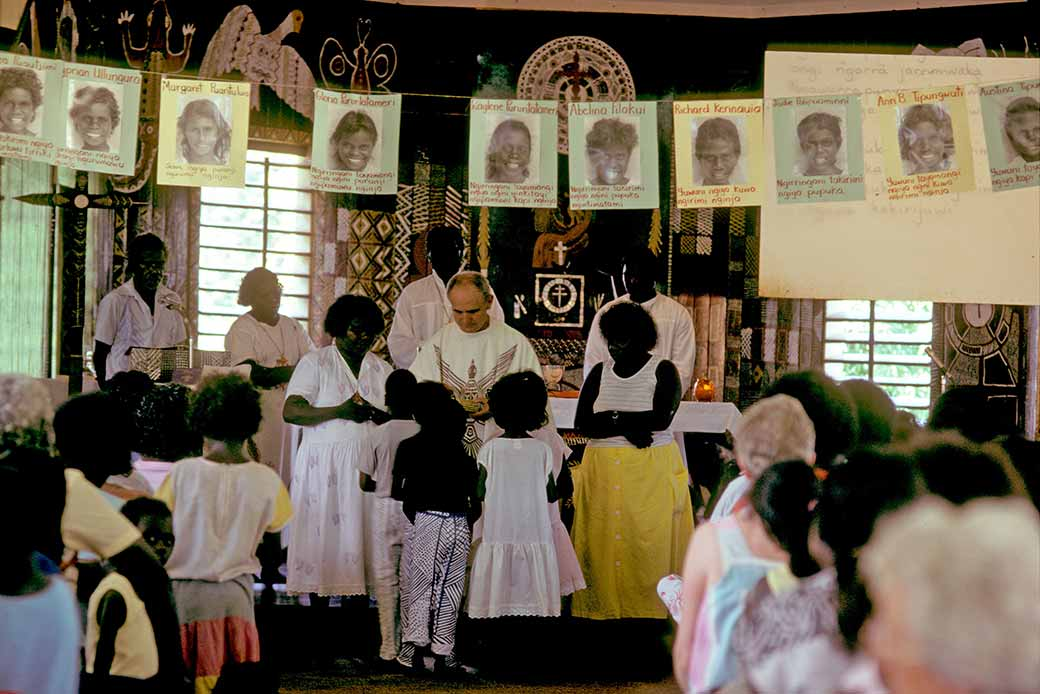 First holy communion aboriginal ceremonies tiwi for Altar decoration for first holy communion